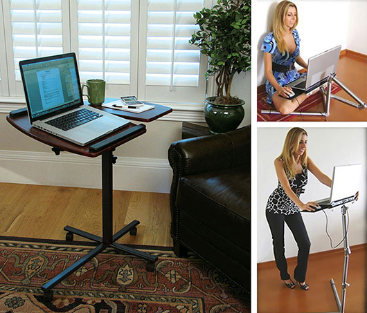 A standing desk, with woman sitting and standing