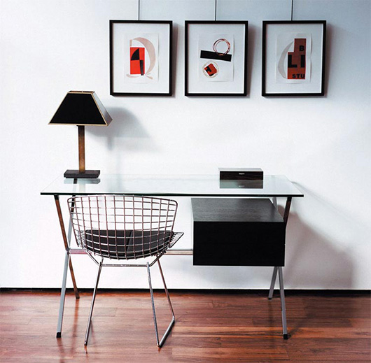 A chair and desk in a room