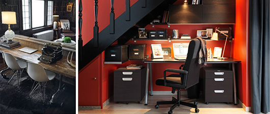An office with a desk and chair under stairs