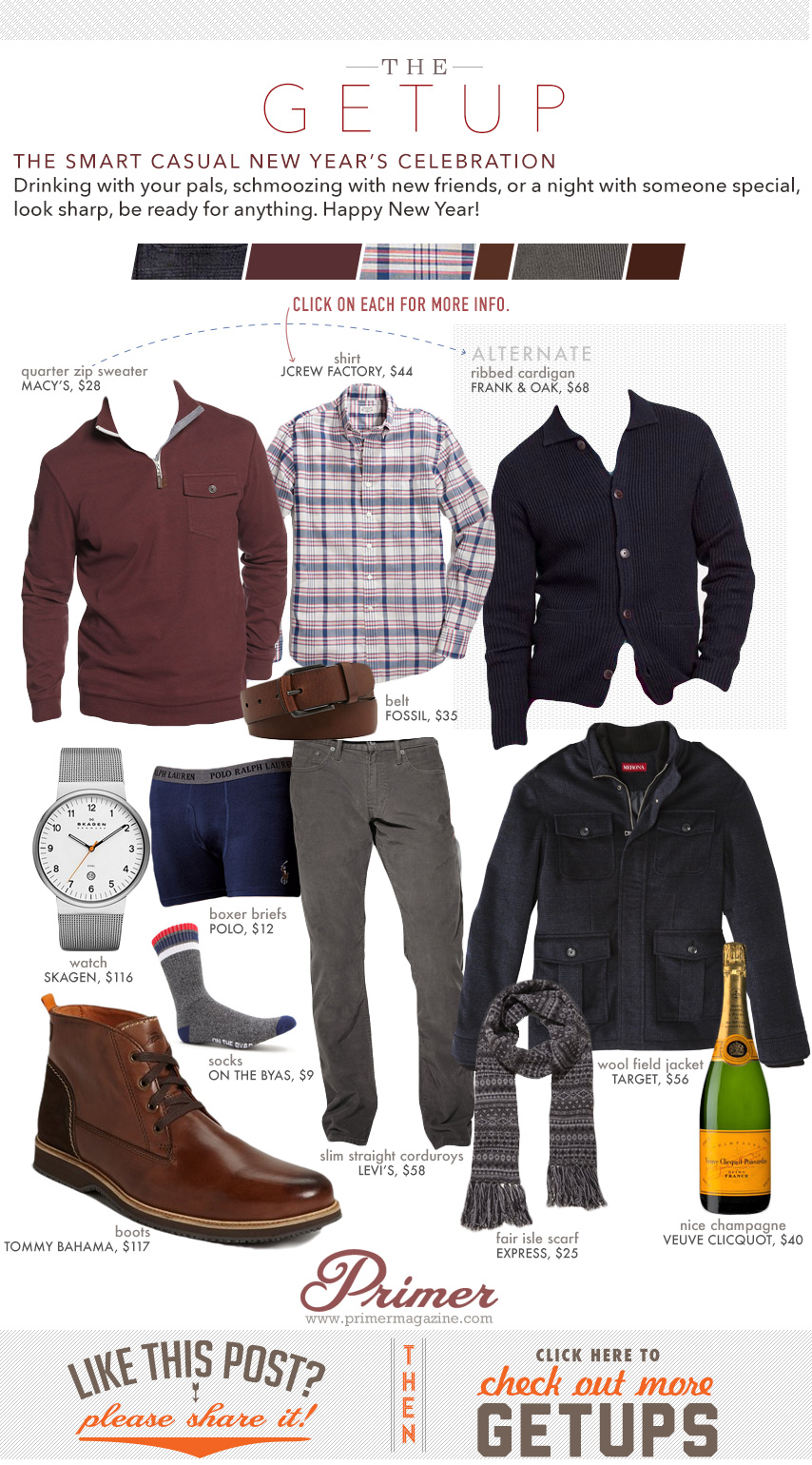 Getup Smart Casual New Year\'s Celebration - 2 sweater options, button up shirt, gray pants and brown boots