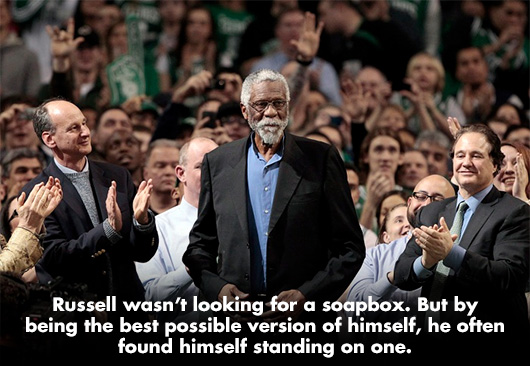 Bill Russell in front of a crowd
