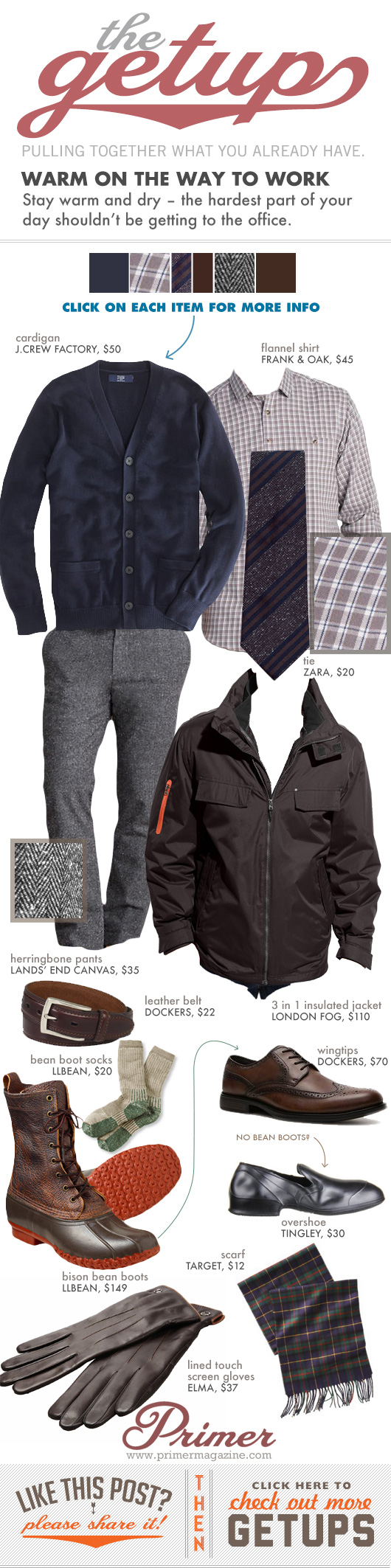 Getup Warm on the Way to Work: Cardigan sweater, shirt with tie, gray pants, LLBean Boots