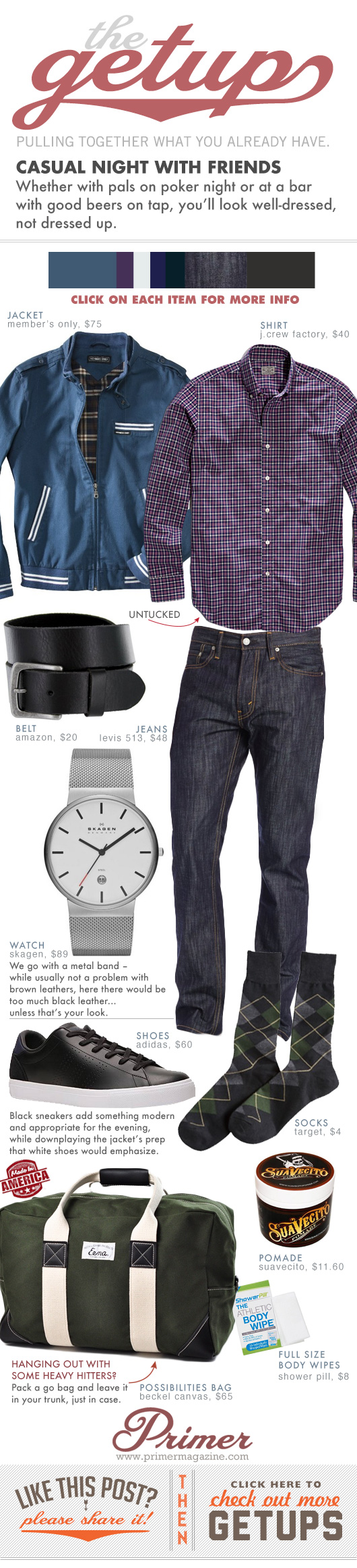 Getup Casual Night with Friends - Purple check shirt, black belt, dark blue jeans