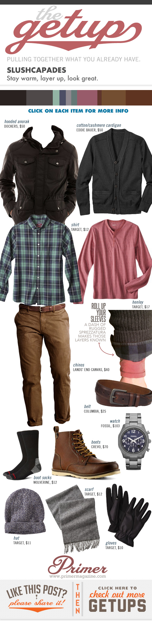 Getup Slushcapades - Winter outfit with jacket, plaid shirt, red henley, brown pants, and boots