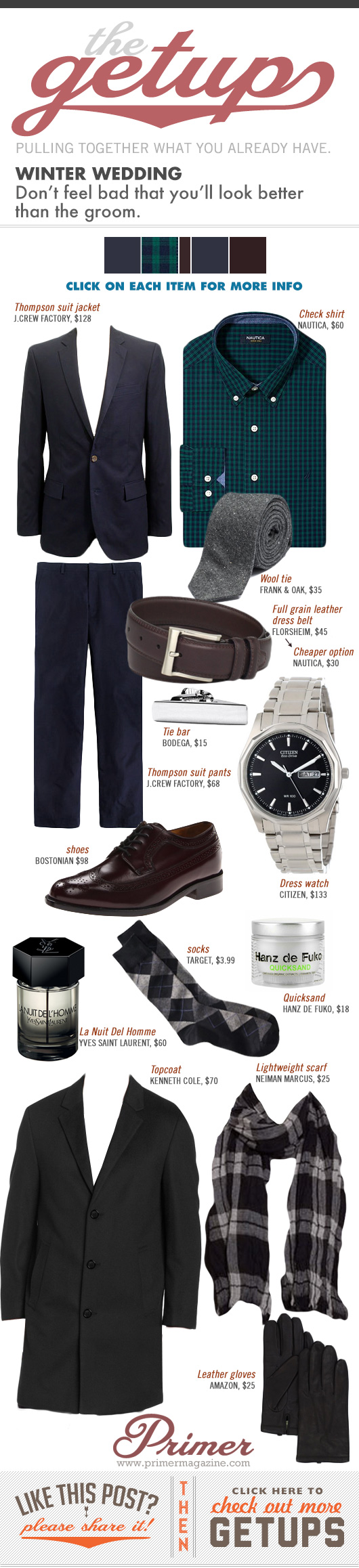Getup Winter Wedding - Navy suit, Green shirt, gray tie, brown shoes