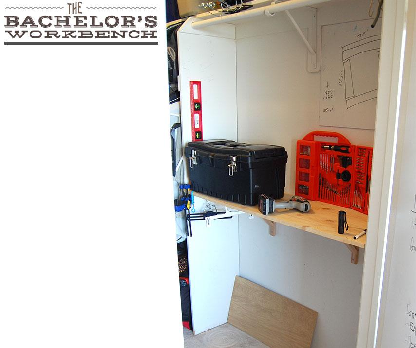 A work bench in a closet