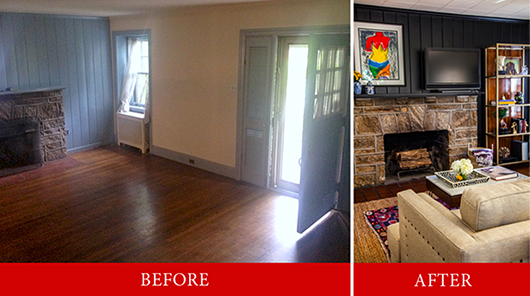 Before and after of bachelor pad