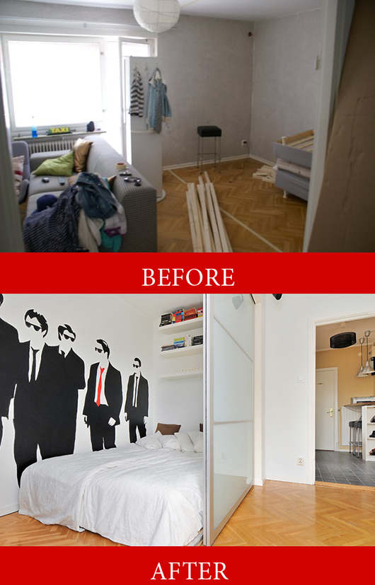 Before and after of studio