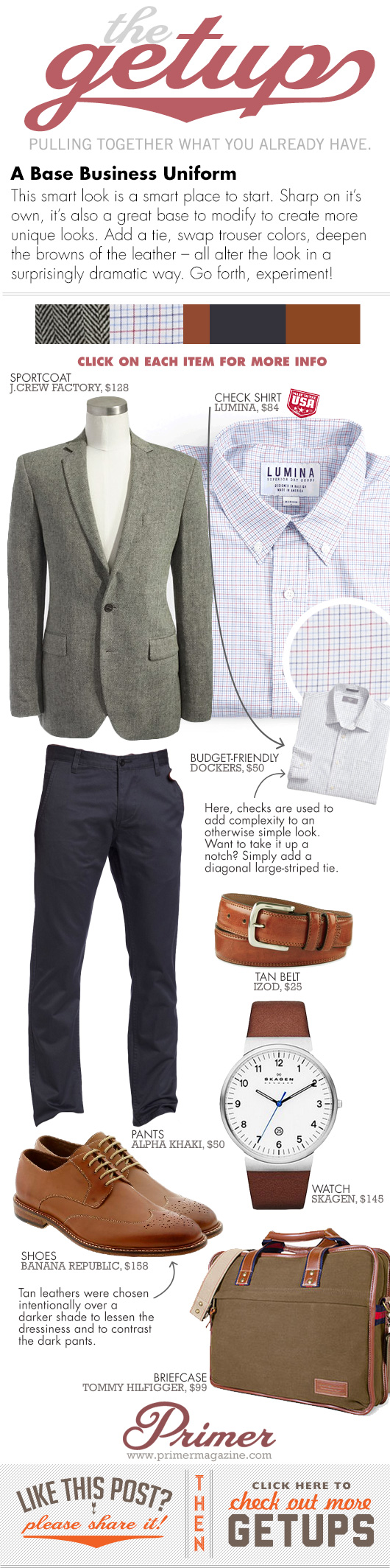 Getup Base Business Uniform - Tweed blazer, check shirt, blue pants