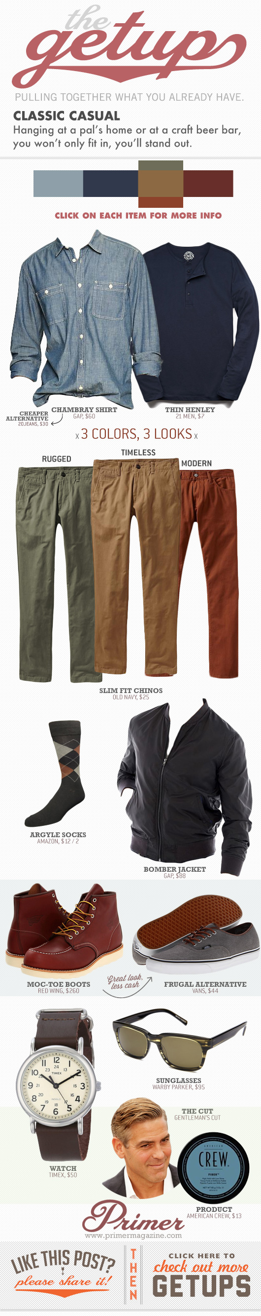 Classic casual Getup - Outfit with 3 colors for pants, green khaki, and orange