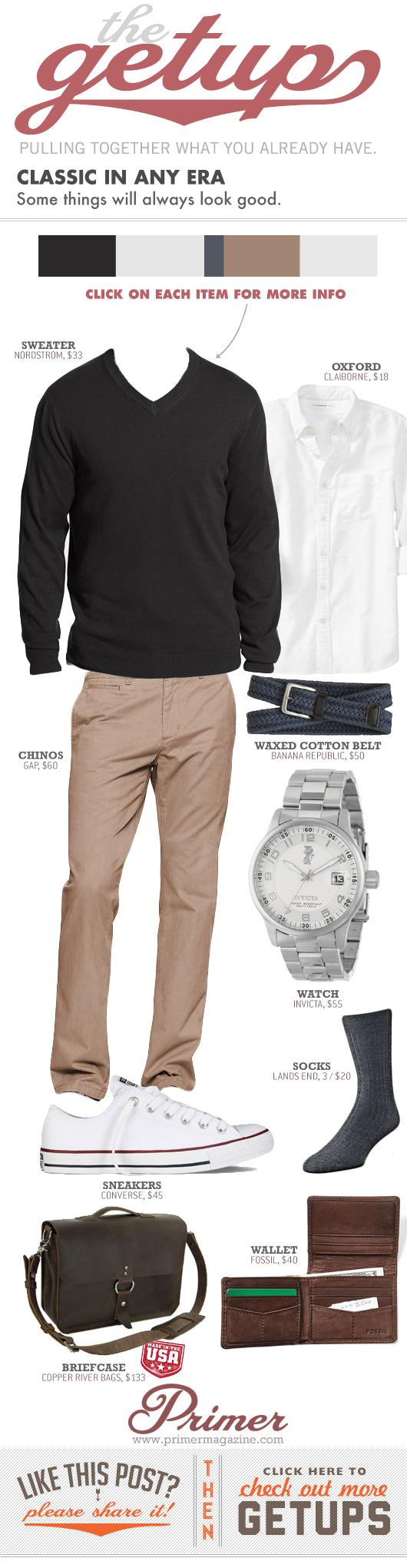Getup Classic in Any Era - black sweater, white shirt, khakis