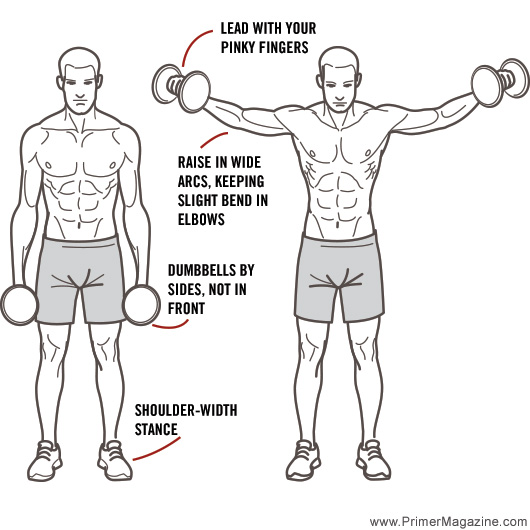 Correct side lateral raise exercise form