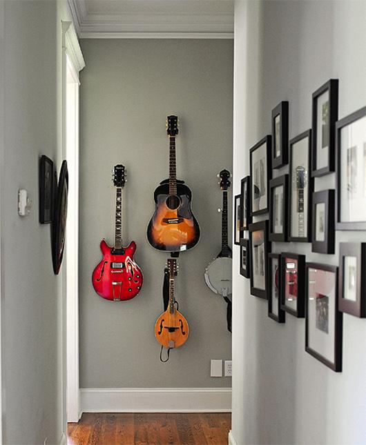 3 guitars on wall