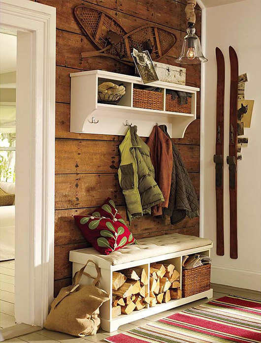 A home with skis on the wall