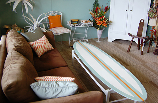 A surfboard as a coffee table