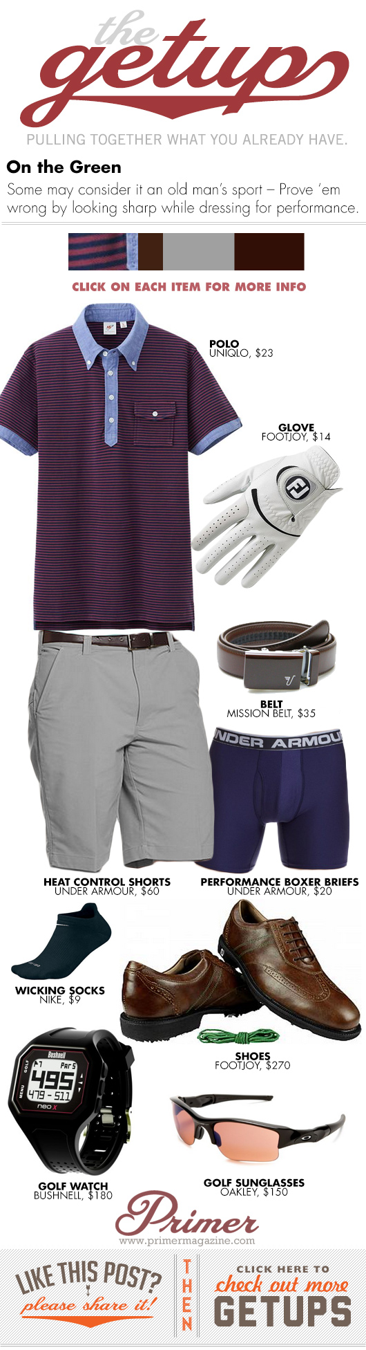 Getup On the Green - polo golf glove, gray pants, golf shoes