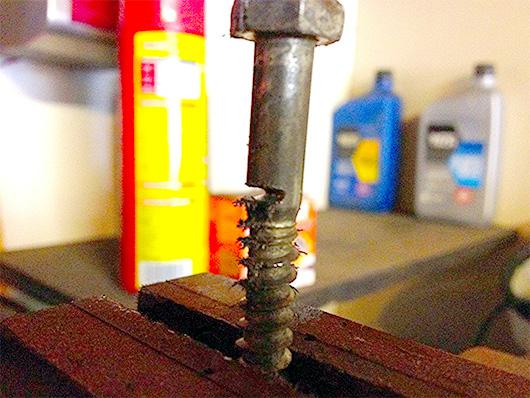A bolt cut half way through