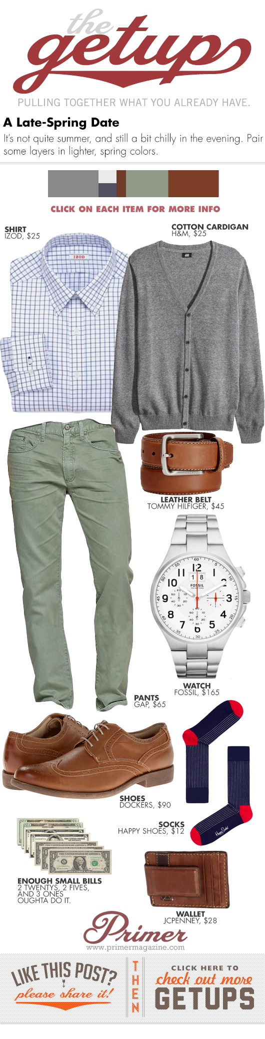 Getup Late Spring Date - Cardigan sweater, check shirt, green pants