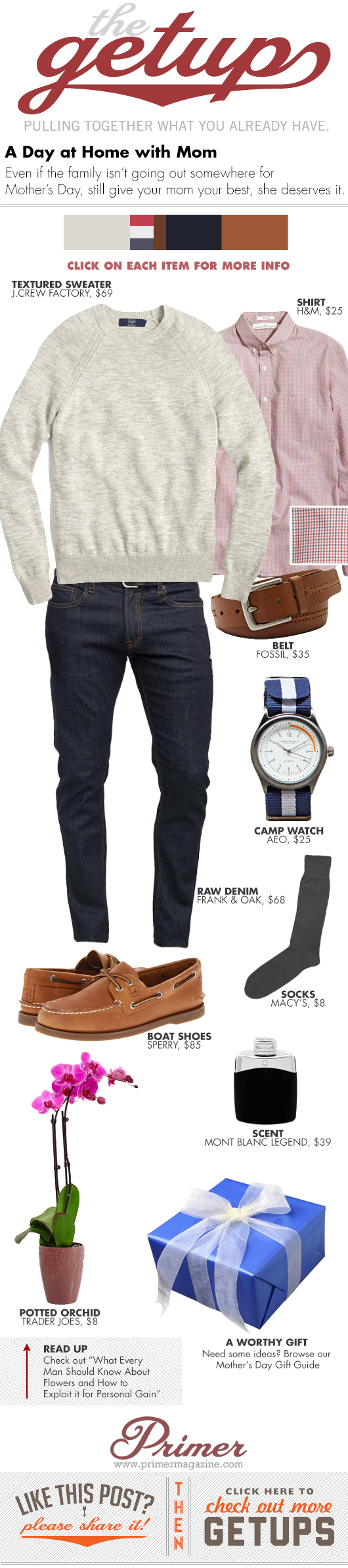 Getup a Day at home with Mom - Sweater, check shirt, dark jeans, boat shoes