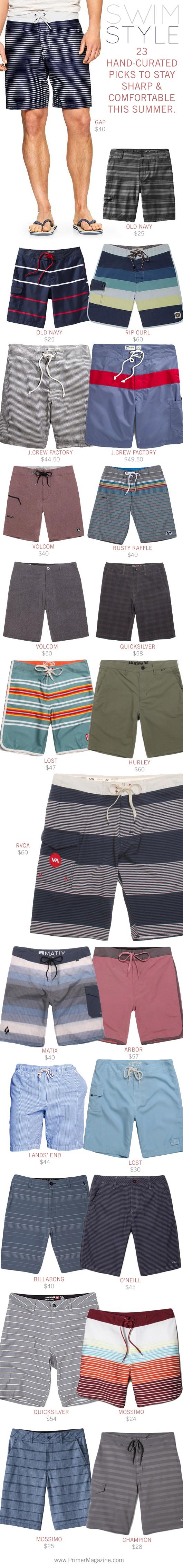 Swim Style collage with 23 swim trunk options