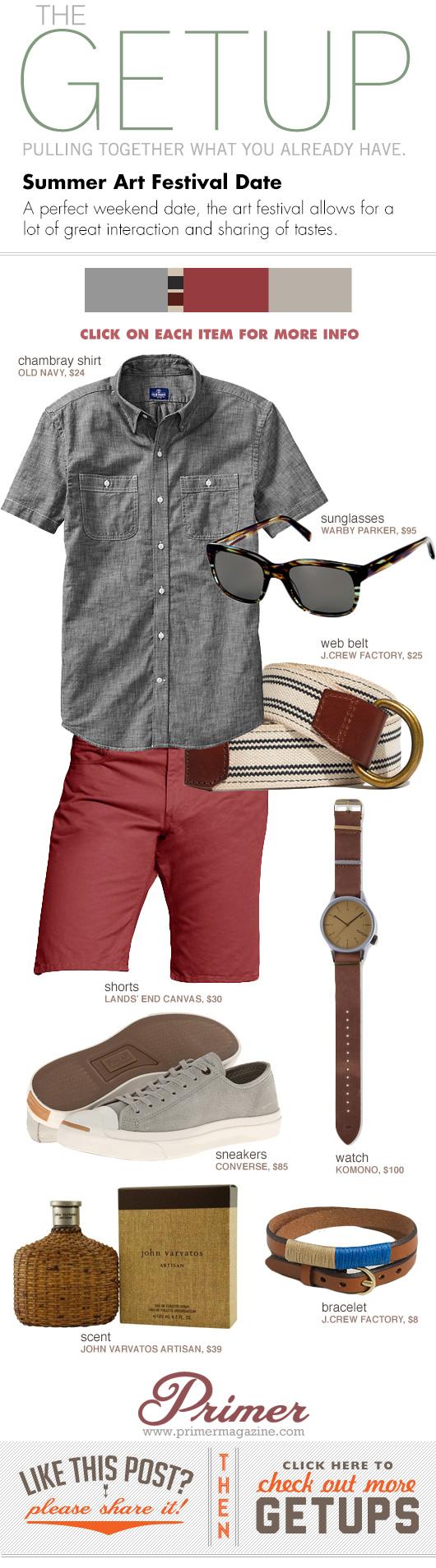 Getup Summer Art Festival - Gray shirt, web belt, red shorts, gray sneakers