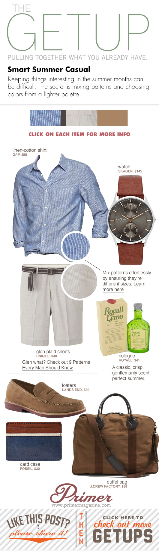Getup Smart Summer Casual - striped shirt, linen shorts, suede loafers