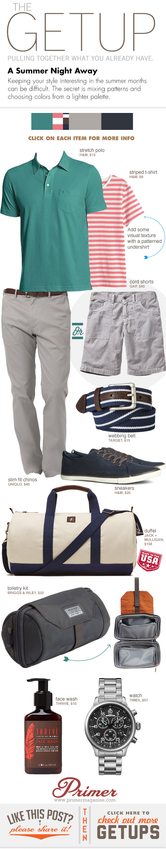 Getup Summer Night Away - Green polo, striped tshirt, gray pants or shorts, and blue sneakers