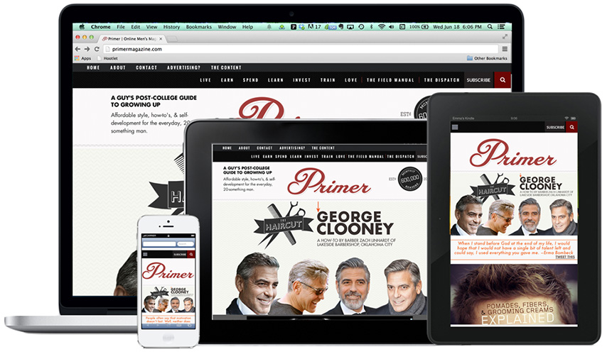 Different electronic devices with the Primer homepage on it
