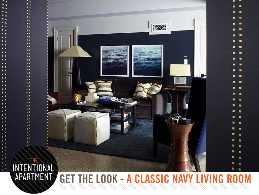 intentional apartment navy living room