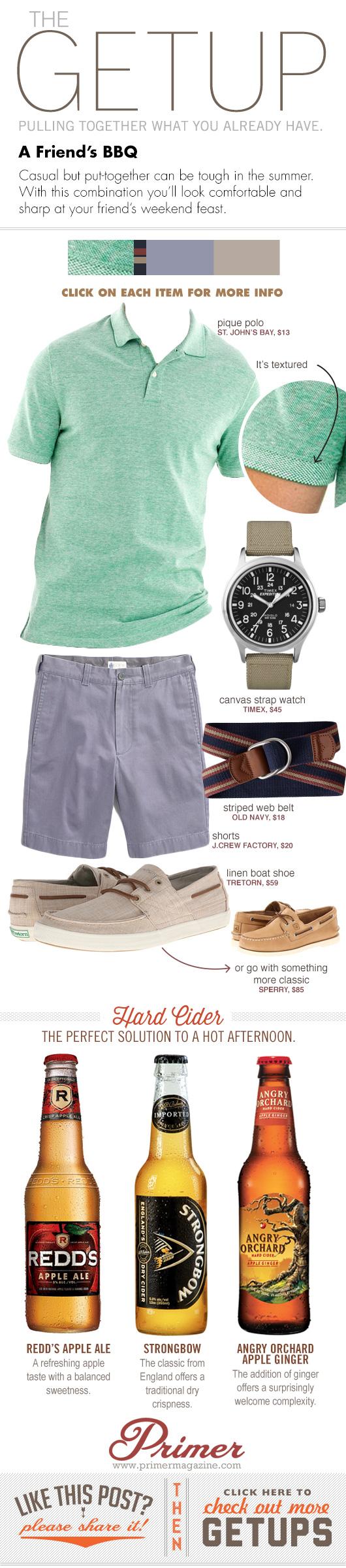 Getup A Friend\'s BBQ - Green polo, blue shorts, tan boat shoes