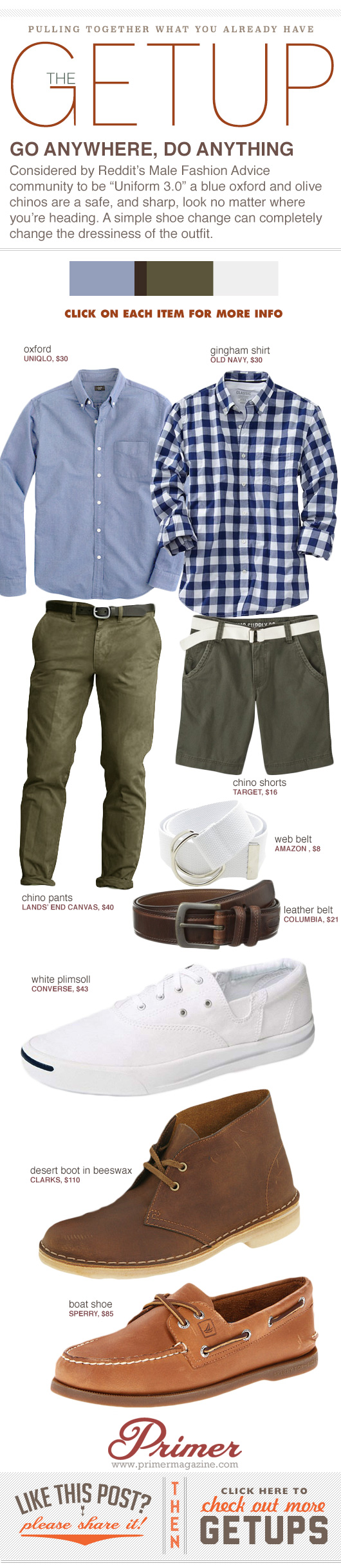 Getup - Go Anywhere, Do Anything - blue shirt, green pants or shorts, with three footwear options