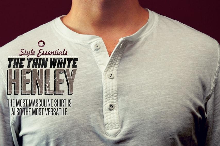 Mens White Henley Shirt
