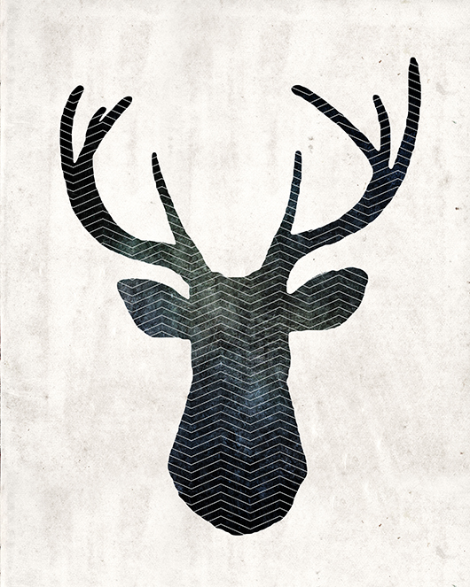 free art download stag head deer print