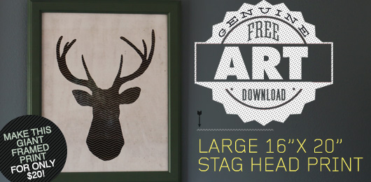 Free deer head art printable download