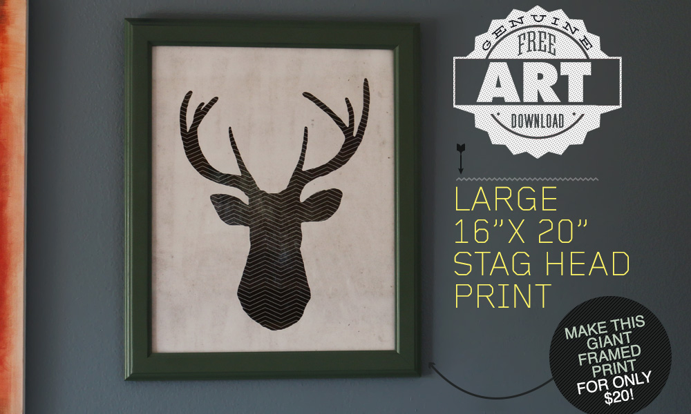 Free Art Download: Large 16″ x 20″ Stag Head Print