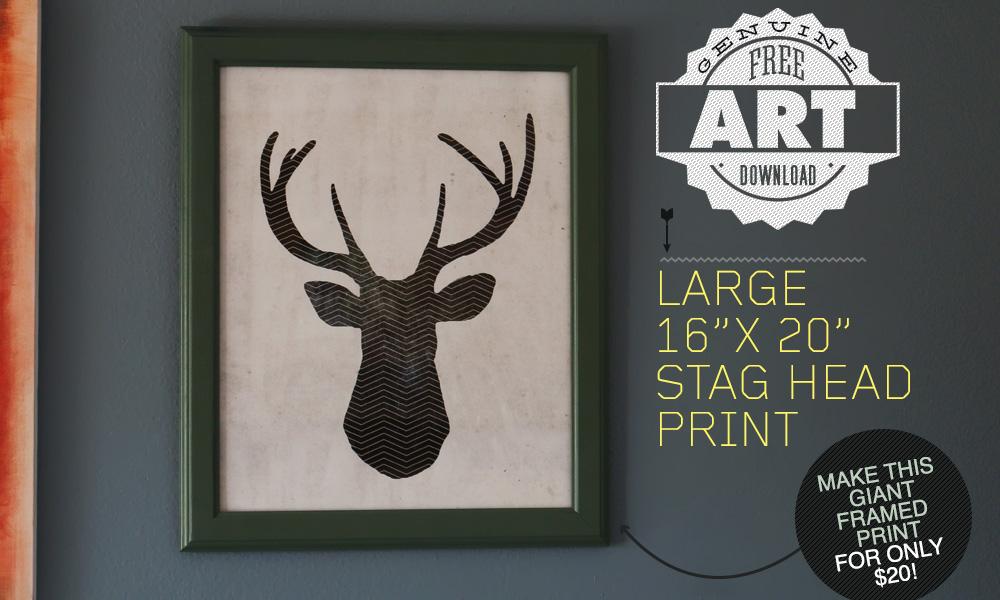 Free Art Download: Large 16″ x 20″ Stag Head Print