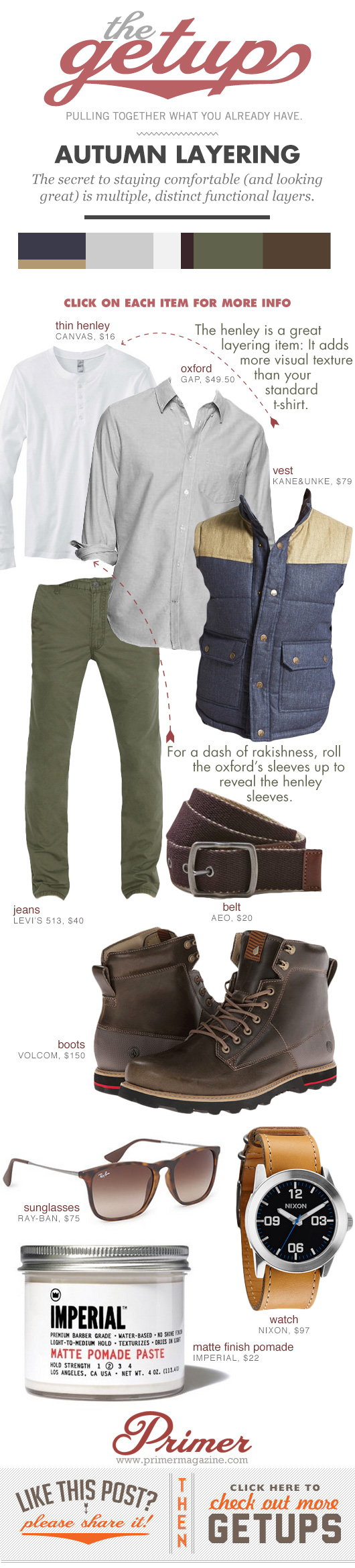 Getup Autumn Layering - Vest, button up shirt, green pants, chunky boots