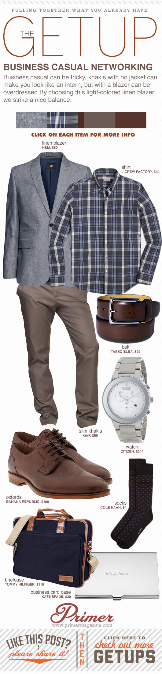 Getup - Business Casual Networking outfit - blazer, plaid shirt, brown pants