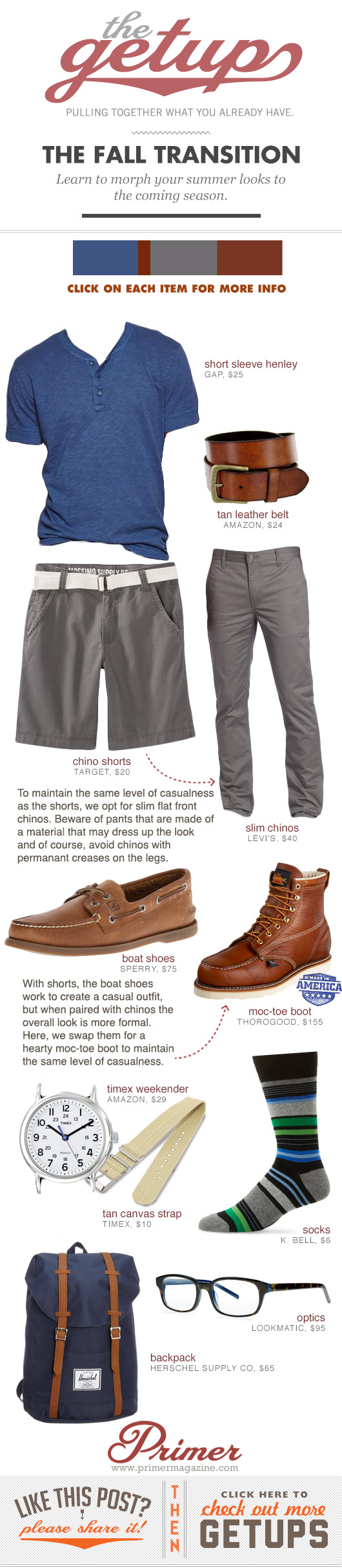 Fall Transition Getup - blue henley, gray shorts or pants, boat shoes or boots