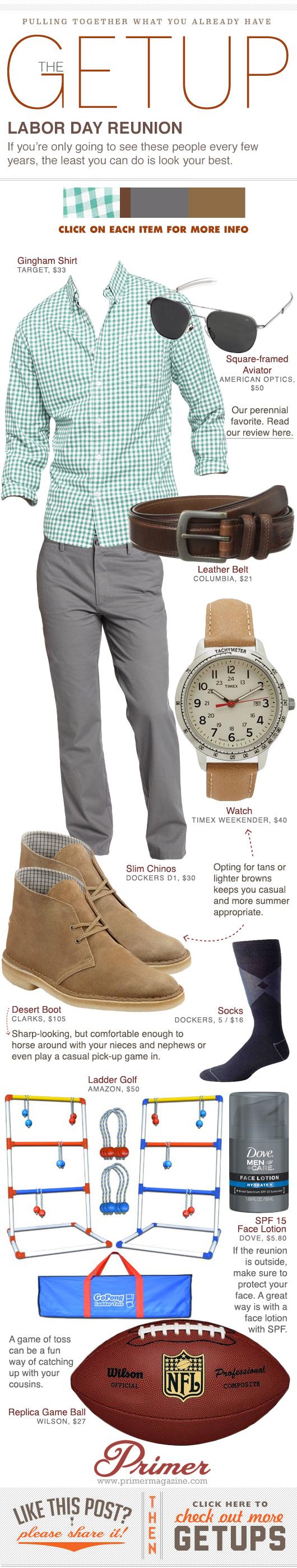 Getup Labor Day Reunion - Green shirt, Gray pants, Desert boots