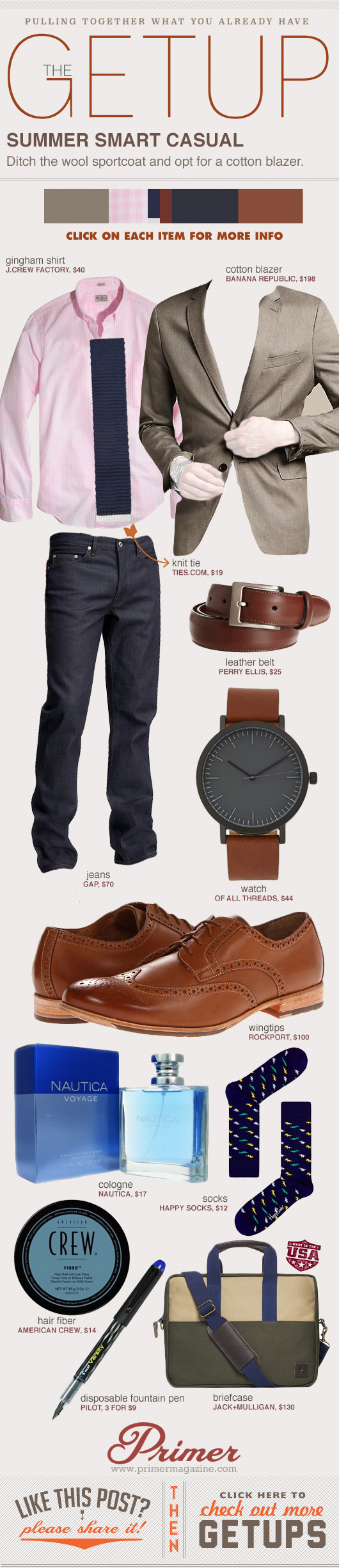 Getup Summer Smart Casual - Blazer with pink shirt, jeans, and brown shoes