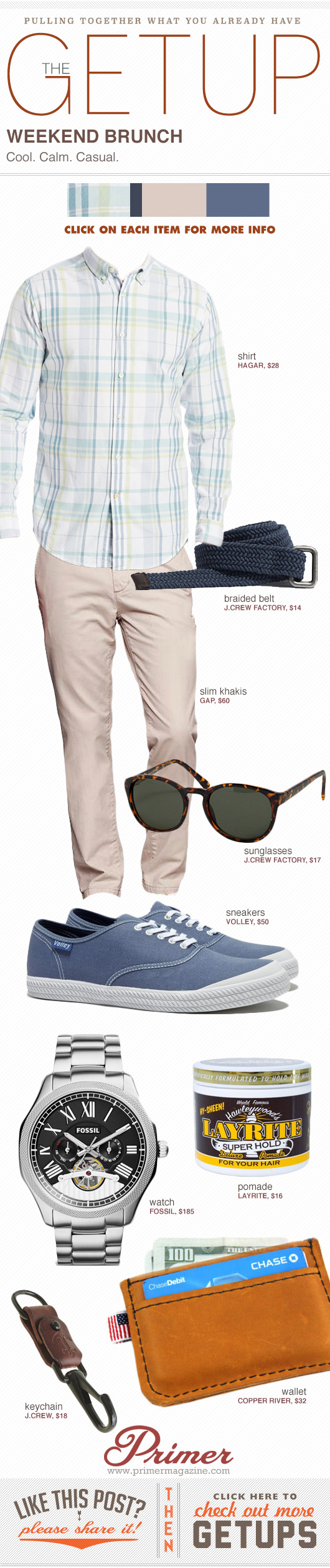 Getup Weekend Brunch - Plaid shirt with khakis and blue sneakers