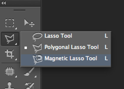Photoshop lasso tool menu