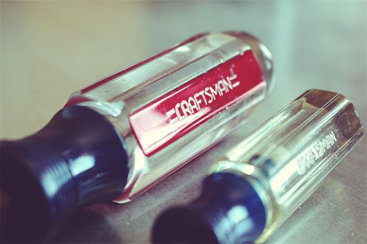 A close up of a screwdriver handle