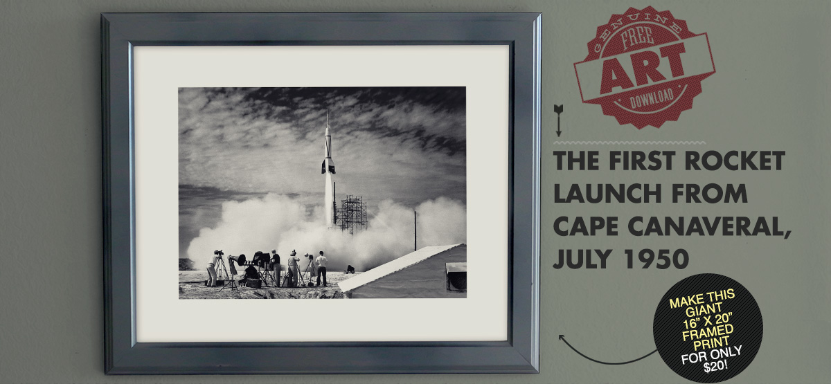 Free Art Download: The First Rocket Launch from Cape Canaveral, July 1950