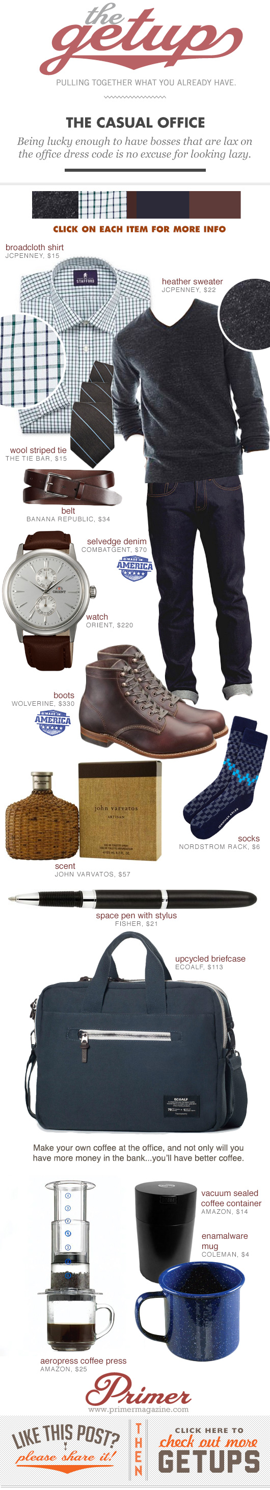 The Getup - Casual Office, gray sweater, button up shirt, blue jeans, and Wolverine boots