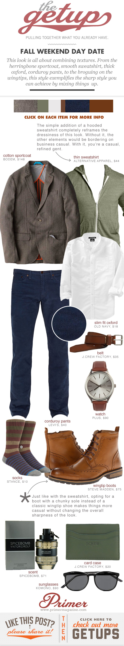 Getup - Fall Weekend Day Date, Blazer, button up shirt, blue corduroy pants