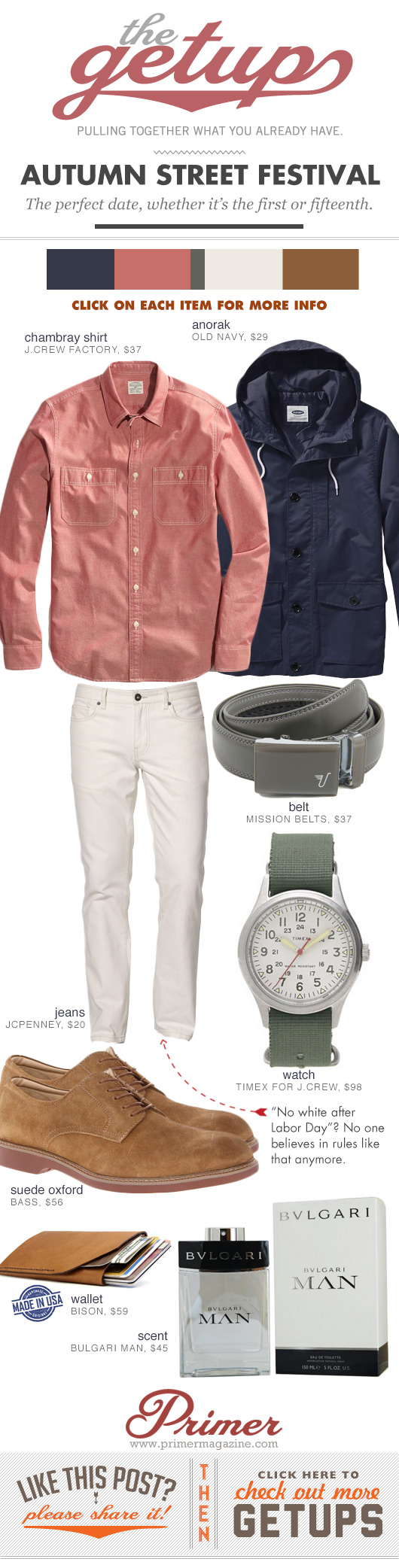 Getup Autumn Street Festival - Blue jacket, pink shirt, white jeans
