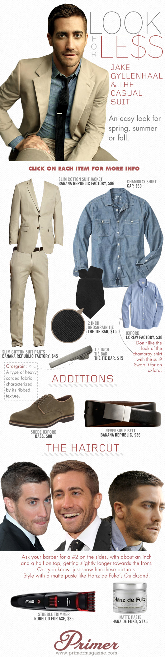 Jake Gyllenhaal Look for Less - Tan suit, blue shirt, brown shoes