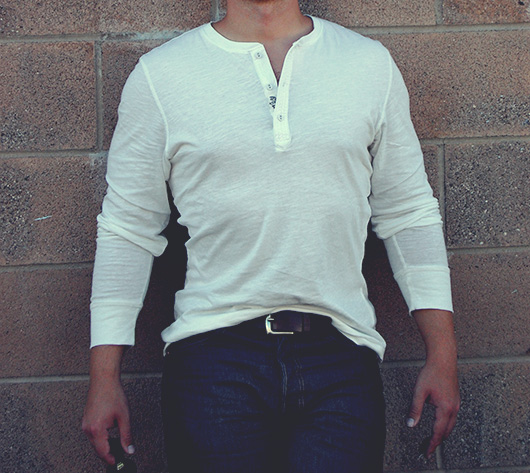 Man wearing white henley